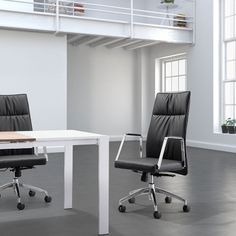 The Dawson High Back Office Chair features chromed steel armrests and a durable, easy to clean leatherette upholstery available in your choice of white or black. This modern office chair has tilt and swivel capabilities for additional comfort and convenience. $459.00
