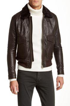 Kooples | Leather Moto Jacket with Genuine Lamb Shearling Collar | HauteLook