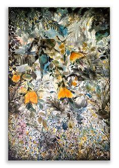 Joni Murphy – NZ Art Show Nz Art, Moon Garden, Mixed Media Canvas, Watercolor And Ink, Landscape, Abstract, Artist, Painting, Summary