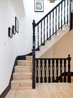 stairs remodel staircase makeover - stairs remodel + stairs remodel before and after + stairs remodel diy + stairs remodel staircase makeover Entry Stairs, Entry Hallway, House Stairs, Wood Staircase, Black Banister, Banisters, Banister Remodel, Staircase Makeover, London House
