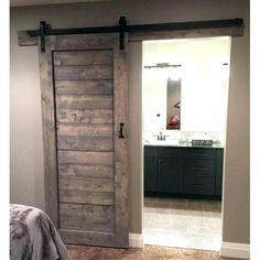 Farmhouse Master Bedroom, Basement Master Bedroom, Suites, Interior Barn Doors, My New Room, Home Projects, Sewing Projects, Home Remodeling, Bedroom Remodeling