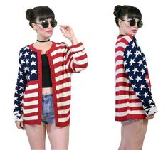 vintage 90s American flag sweater americana cardigan by AsIfStore