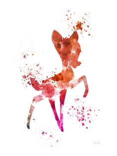 "Bambi ART PRINT 10 x 8"" illustration, Disney, Mixed Media, Home Decor, Nursery, Kid"
