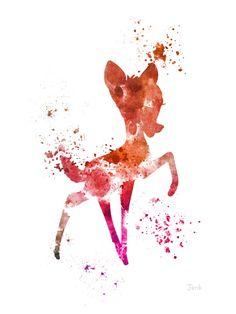 Illustration PRINT ART Bambi, Disney, technique mixte, Home Decor, pépinière, Kid