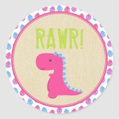 Girl Dinosaur Birthday Stickers Pink Dinosaurs