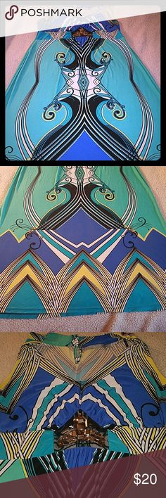 $75 NY Collection  Sleeveless Printed Maxi 2x NY Collection Womens Plus-Size Sleeveless Printed Maxi Dress with Embellishment  Gorgeous super stretchy maxi dress in size 2x. Beautiful embellishment at lower bust at the waist. I want embellishments present. 96% polyester 4% spandex. Gorgeous dress worn once. I just have way too many clothes. NY Collection Dresses Maxi