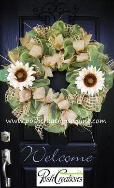 Summer Wreath Fall Wreath Fall  Mesh Wreath by poshcreationsKY, $99.00