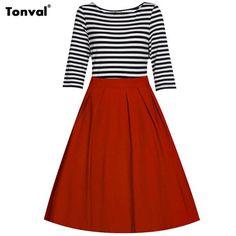 Vintage Striped Dress Half Sleeve Casual Swing Dresses Rockabilly Retro