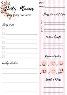 Free Daily Planner Bundle For Positive Mindset Free Planner, Printable Planner, Free Printables, Positive Mindset, Positive Thoughts, Free Calendar, Im Grateful, Planner Inserts, My Mood
