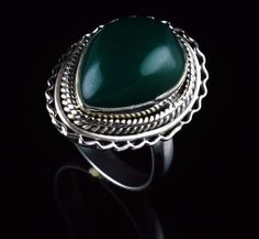 GREEN ONYX NATURAL GEMSTONE MEN'S HANDMADE RING 925 STERLING SILVER SIZE US8 R69 #Unbranded