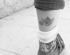 Teapot and teacup tattoo on lower leg by Carlota Hernandez (@charlotte_tattoing)