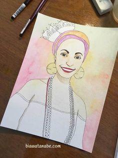 Um pouco do processo de desenhar um retrato tamanho 15x20cm. Materiais: lápis, aquarela e nanquim. Tudo começou com um primeiro esboço à lápis baseado numa fotografia de Helena. Fiquei pensando em como passar o ar dessa moça alegre para o papel...