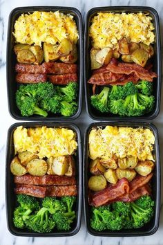 Healthy Dinner Recipes Discover Breakfast Meal Prep Breakfast Meal Prep - Now you can sleep in and eat a filling and hearty breakfast ALL WEEK LONG! Eggs bacon or sausage roasted potatoes and broccoli! Easy Healthy Meal Prep, Easy Healthy Recipes, Healthy Delicious Meals, Simple Meal Prep, Health Food Recipes, Simple Diet, Healthy Choices, Lunch Meal Prep, Meal Prep Bowls