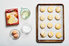 Try a batch of these sunny, sweet-tart lemon cookies — made boxed cake mix — and you'll be met with all of the acclaim at this year's cookie swap. Lemon Cookies Easy, Lemon Cake Mix Cookies, Lemon Crinkle Cookies, Gooey Butter Cookies, Cake Mix Cookie Recipes, Lemon Dessert Recipes, Lemon Cake Mixes, Chocolate Crinkle Cookies, Chocolate Crinkles