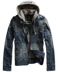 Mens Denim Jacket Fashionable Hooded Packet Long Sleeve Denim  Mens Jacket   Discount Online Shopping