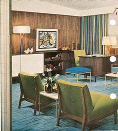 1950s-living-room-mid-century-ideas | 1950s interior, interior