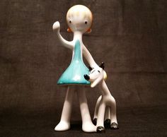 Hollohaza Girl and Dog Figurine, Porcelain Art Deco Era, Hungarian Porcelain, Hand Painted, Highly Collectable and Rare by FaberGreaves on Etsy