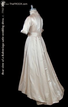 Vintage Balenciaga satin wedding dress; 1950s / 1960s couture bridal gown. (While the garment is available, details and more photos are found on our website at www.thefrock.com )