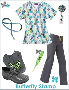 Impulse Butterfly Stamp Scrub Top