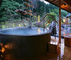 I want my own onsen in my dream home! Japanese Hot Springs, Jacuzzi, Ideal Bathrooms, Home Spa, Outdoor Travel, My Dream Home, Outdoor Living, Mineral Bath, Yamagata