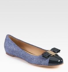 Ferragamo Stingrayprint Leather and Patent Leather Ballet Flats in Blue (navy)