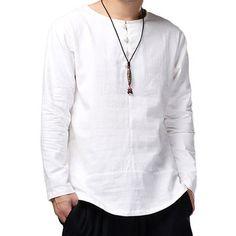 High Quality Cotton Linen Shirts Men Dress Long Sleeve Crew-Neck White Casual Shirt Camisa Masculina Autumn Plus Size Loose Shirts, Henley Shirts, Casual T Shirts, Linen Shirts, Long Sleeve Henley, Long Sleeve Tops, Long Sleeve Shirts, White Casual, Men Casual
