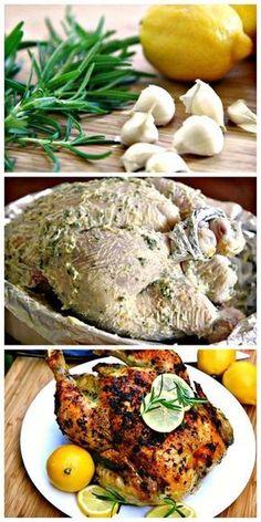 Garlic & Rosemary Roasted Chicken Recipe Lemon, Garlic & Rosemary Roasted Chicken just made it and oh my goodness it's so good!Lemon, Garlic & Rosemary Roasted Chicken just made it and oh my goodness it's so good! I Love Food, Good Food, Yummy Food, Rosemary Roasted Chicken, Whole Roasted Chicken, Roasted Turkey, Lemon Garlic Chicken, Stuffed Whole Chicken, Garlic Roasted Chicken