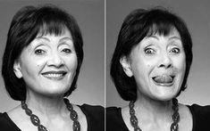 """Eva Fraser's facial exercises (that's her in this photo ...she's in her 80s).  """"There are 60 different muscles in our faces,"""" she says. """"We use very few of these in day-to-day life and so, as we get older, they just wither away. It's the same principle as exercises for the body – using resistance to build muscle strength.""""   