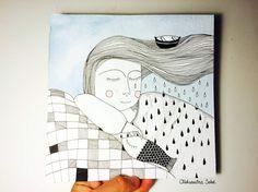 Après une sieste sur la table de cuisine... Rêve aux cheveux mouillés... Peinture originale à l'encre et aquarelle Format 20x20cm, Papier 425g/m2, Prix: 55€ All rights reserved Aleksandra Sobol 2015