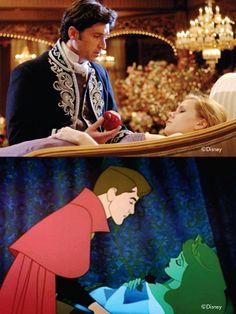 Patrick Dempsey (Robert Philip) & Amy Adams (Giselle) - Enchanted (2007) -   Prince Phillip & Princess Aurora - Sleeping Beauty (1959) #disney