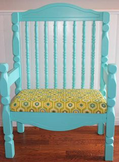 Teal Bench was repurposed from baby crib  Vintage Finds $100