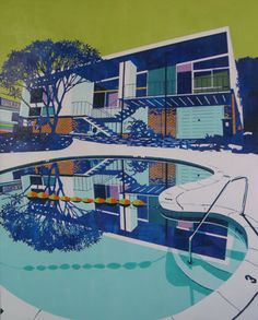 "Paul Davies, ""mums house with econo lodge pool,"" acrylic on linen"