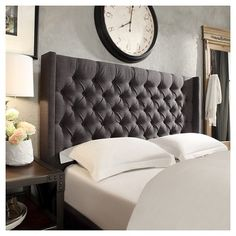Inspire Q Highland Park Button Tufted Wingback Headboard - Charcoal (Grey) (Full), Durable