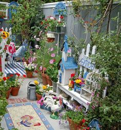 A very colourful garden with lots of decorations