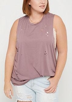 Plus Lavender Destroyed Muscle Tank Top