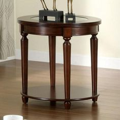 With Gentle Styling This End Table Will Be A Sophisticated Accent To The Rest Of Your Living Room. Finished In Dark Cherry This Table Has A Beveled Glass Top And Attractive Turned Legs. The Open Bottom Shelves Bring Convenience For Storage Or Display. Round End Tables, Glass Top End Tables, End Table Sets, End Tables With Storage, Glass Table, 3 Piece Coffee Table Set, Coffee Tables, Contemporary End Tables, Contemporary Style