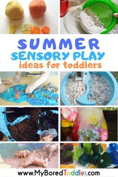Summer Sensory Play Ideas for Toddlers - sensory bins bottles and bags with water sand and more - toddler activities toddler fun summer play ideas for 1 year olds 2 year olds 3 year olds. Quiet Toddler Activities, Toddler Sensory Bins, Summer Activities For Toddlers, Activities For 2 Year Olds, Toddler Play, Sensory Play, Infant Activities, Toddler Preschool, Toddler Crafts