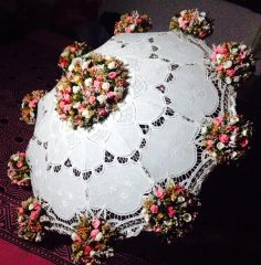 wedding umbrella --- nice concept!!! beautiful lace and handmade flowers... good choice of colours