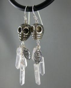 Skull Earrings  Carved Pyrite Skulls Quartz by MelissaAbram, $50.00