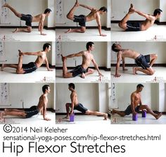 hip flexor stretches: extended leg cat pose cat pose variation with opposite hand grabbing ankle bow pose half bow pose pigeon variation with same side hand grabbine ankle camel pose table yoga pose combination with one knee and one foot on the floor Hip Flexor Exercises, Back Exercises, Stretching Exercises, Hip Stretches, Fitness Exercises, Hip Exercises For Men, Stability Exercises, Core Stability, Workout Exercises
