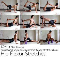 A selection of hip flexor stretches.  http://sensational-yoga-poses.com/hip-flexor-stretches.html.