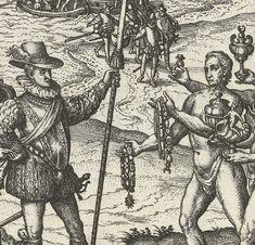 """Detail from an engraving by Theodore de Bry, from which formed part of his """"America-series"""", showing Christopher Columbus landing on the Caribbean island of Hispaniola in 1492 Safari, Exploration, Christopher Columbus, Small Groups, Archaeology, South America, Native American, Vintage World Maps, Cute Animals"""