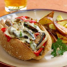 Portabella mushroom Philly cheese steak sandwich- Meatless Monday ideas