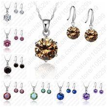 Nueva moda cristalino de la joyería Cubic Zirconia CZ colgante collar esterlina 925 joyería de plata para mujeres amantes(China (Mainland))