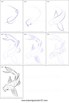 Koi Fish Drawing, Koi Fish Tattoo, Fish Drawings, Animal Drawings, Pencil Drawings, Art Drawings, Drawing Animals, Landscape Drawings, Drawing Lessons