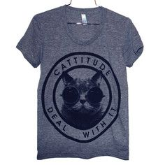 Cattitude Tee Women's Gray, $19, now featured on Fab.