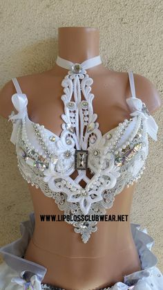 Winter Princess Rave Bra Only, Adult Costume, Rave Bra for Halloween, White… Lingerie Xxl, Lingerie Design, Edm Festival, Festival Outfits, Festival Costumes, Festival Party, Bling Bra, Bedazzled Bra, Fashion Design Inspiration