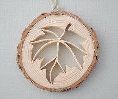 Leaf Christmas Ornament Rustic Pine Wooden Leaf by DJsNature