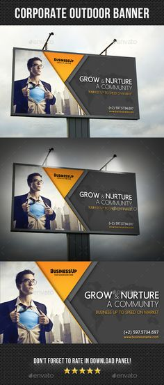 Corporate Outdoor Banner 36 by rapidgraf Highly editable PSD Outdoor Banner, PSD file is very easily customize to make it your own in seconds! Pack included: Outdoor Ban