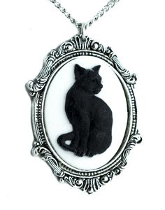 Black Cat Cameo Necklace Gothic Halloween Jewelry Pendant Lucky 13